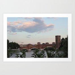 By the Bridge, Verona Art Print