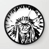 native american Wall Clocks featuring Native by Lauryn Danae