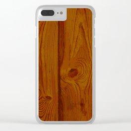 Deep Reddish Wood Pattern Clear iPhone Case