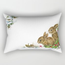 Winter in the forest - Animal Bunny Illustration Rectangular Pillow