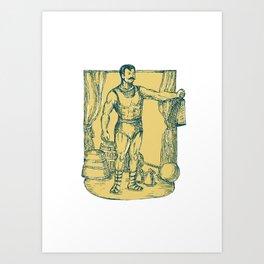 Strongman Lifting Weight Drawing  Art Print