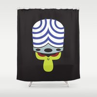 jojo Shower Curtains featuring The Powerpuff Girls - Mojo Jojo by transitoryspace