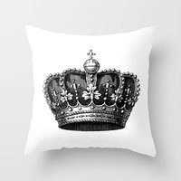 crown Throw Pillows featuring crown by AleDan