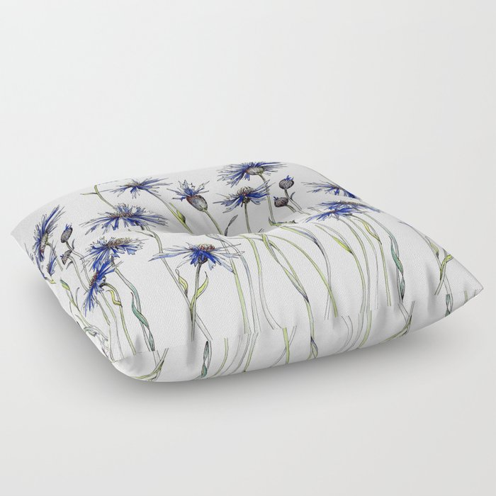 Blue Cornflowers, Illustration Floor Pillow