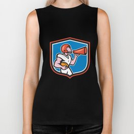 American Football Quarterback Bullhorn Shield Cartoon Biker Tank