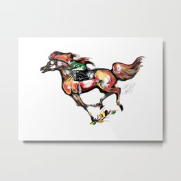 Racing Arab Horse Metal Print