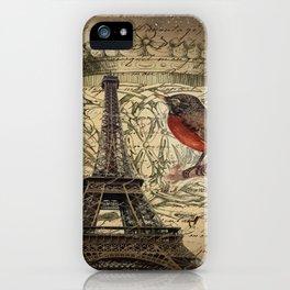 I love Paris Shabby chic Robin French Scripts Jubilee Crown Vintage Paris Eiffel Tower iPhone Case