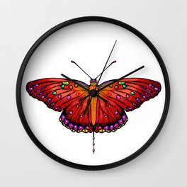 Red an Orange Butterfly Wall Clock