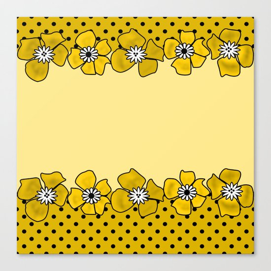 Yellow floral pattern . Canvas Print