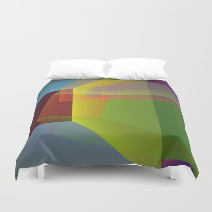 Modern colourful translucent cubism Duvet Cover