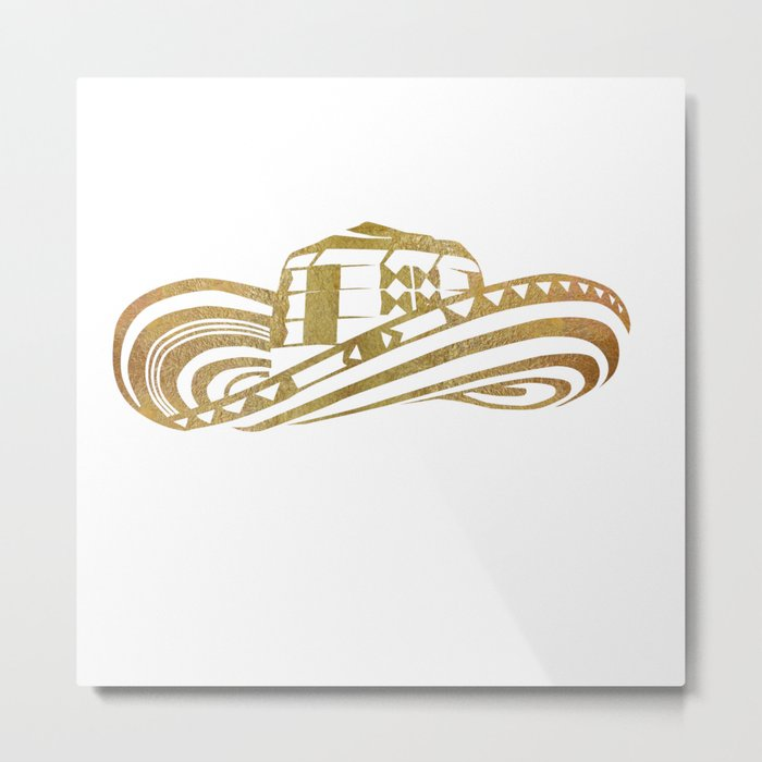 Colombian Sombrero Vueltiao in Gold Leaf Style Metal Print