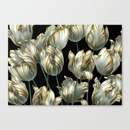 Winter Tulips in Gold. Canvas Print