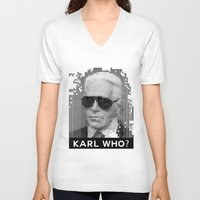 karl V-neck T-shirts featuring KARL WHO? by Wink