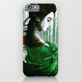 Cyberpunk Geisha Cyborg Matrix Binary Code  iPhone Case
