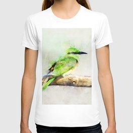 European Bee Eater Green Yellow Bird Wildlife Animal Watercolor Artsy T-shirt