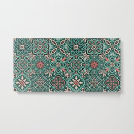 Peranakan Art Nouveau Tiles (Mixed Patterns in Peach Garden) Metal Print