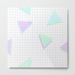 Cool-Color Pastel Triangles on Grid Metal Print