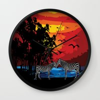 safari Wall Clocks featuring Safari  by Cindys