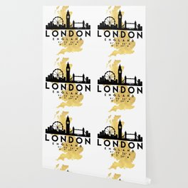 LONDON ENGLAND SILHOUETTE SKYLINE MAP ART Wallpaper