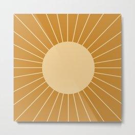 Minimal Sunrays - Golden Metal Print