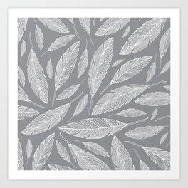 Float Like A Feather - Grey Art Print