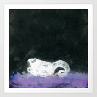 black swan Art Prints featuring Swan by YAZZIK