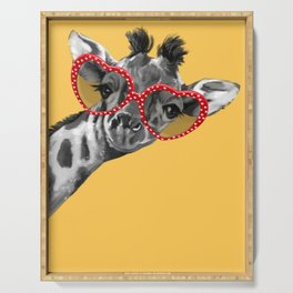 Hipster Giraffe with Glasses Serving Tray