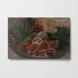 Holly And Pine Cones Metal Print