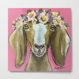 Flower Crown Goat, Goat Painting, Farm Animal Metal Print