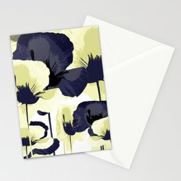 Dark Blue and Light Yellow Poppies On A White Background Fall Mood #decor #society6 #buyart Stationery Cards