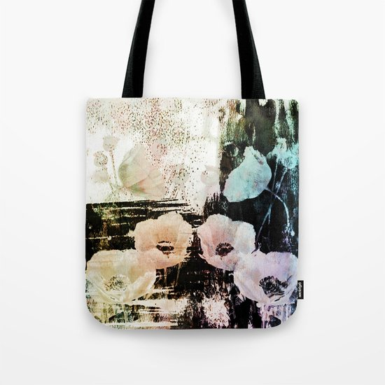 poppies on abstract background Tote Bag