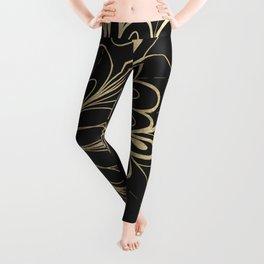 Elegant hand painted black gold mandala floral Leggings