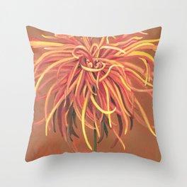 Big Orange Pop Art Chrysthanthemum Throw Pillow