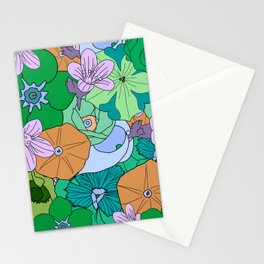 70s Flower Inferno - Green Stationery Cards