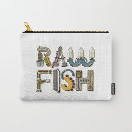 MACHINE LETTERS - RAW FISH (white) Carry-All Pouch