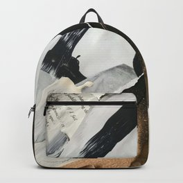 Stay | Collage Series 2 | mixed-media piece in gold, black and white + book pages Backpack