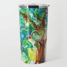 Gold Heart Tree Watercolor by CheyAnne Sexton Travel Mug
