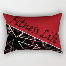 The fitness club . Red black creative pattern . Rectangular Pillow