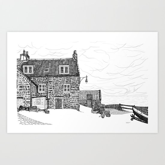 Crail: Old Harbour house.... Fife, in Scotland Art Print