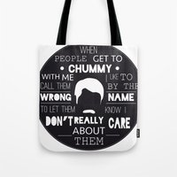 ron swanson Tote Bags featuring RON SWANSON by Edna Andrade