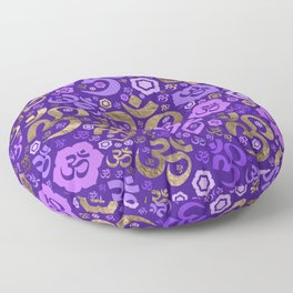 OM symbol pattern - purples and gold Floor Pillow