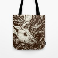 scary Tote Bags featuring doe-eyed by Teagan White