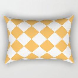 Large Diamonds - White and Pastel Orange Rectangular Pillow