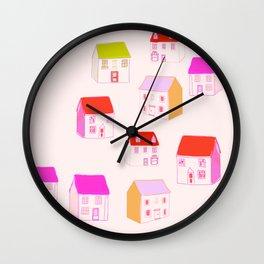 Pink miniature houses Wall Clock
