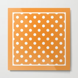 Orange Polka Dots Palm Beach Preppy Metal Print