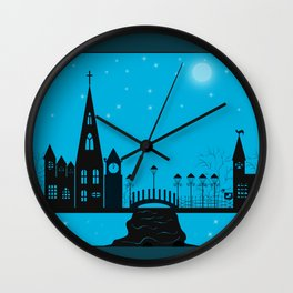 Winter night . Christmas. Wall Clock