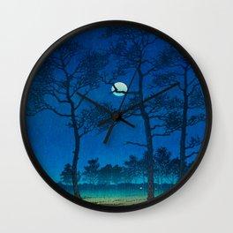 Vintage Japanese Woodblock Print Three Tall Trees At Night Forest Field Landscape Wall Clock
