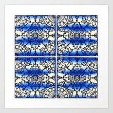 Blue Ink Shibori Tile Art Print