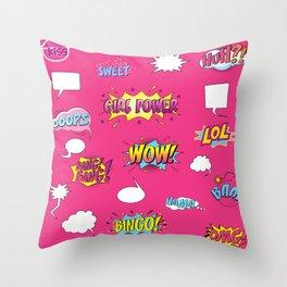 Girly Comics Pattern Throw Pillow