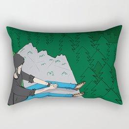Looking over the mountains Rectangular Pillow